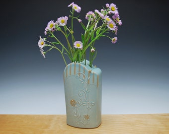 Vase / flower brick in Frost w. Tangerine stripes & polka dots, Victorian modern floral Home decor