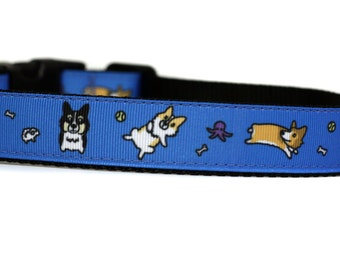 1 Inch Wide Dog Collar with Adjustable Buckle or Martingale in Corgi Blue