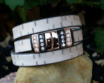 Leather Wrap Bracelet Flat Leather Cream Triple Wrap Cuff Bracelet with CZ Spacers and Magnetic Clasp