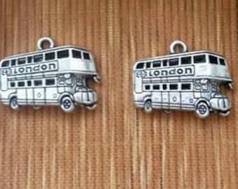 London bus charm pendant double decker souvenir tour travel transportation  jewelry findings supplies   silver metal  quantity  2   sew200