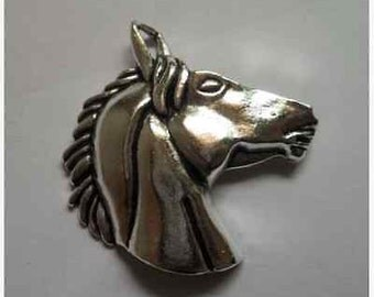 Horse Charm head equestrian silver measures  50 x 50 mm or 2 inches long quantity one  Drw500