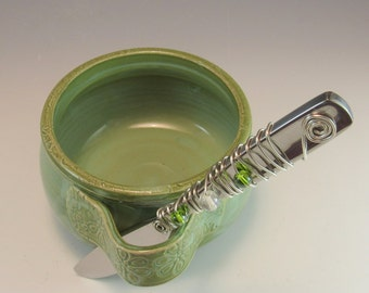 Dip Cup/Cheese Server/Salsa Cup with Jeweled Cheese/ Butter Spreader