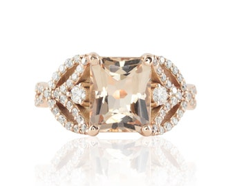 Rose Gold Engagement Ring - 8x10mm Radiant cut Morganite Ring with Diamond Leaves - Vintage Inspired Engagement Ring - LS4721