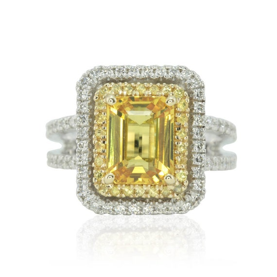 Emerald Cut Engagement Ring, Yellow Sapphire Split Shank Ring with Filigree - LS1271