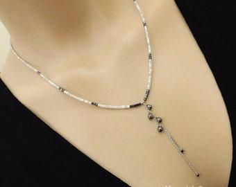 Sale-18.2ct Natural Diamonds White Gray Black Briolette Cascading 14k Solid White Gold Necklace