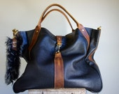 For Kena//NEW//JOSEPHINE Shopper In Black Leather with Brown Horween Leather Accents and Clip on Adjustable Strap