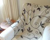 Bed Throw, Velvet Vines, Black,  Linen, Hemp, Oatmeal, 26 x 94, Blanket