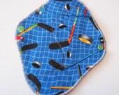 Cloth Mama Pad / Reusable Cloth Pad - Regular Flow  - Hockey Printed 8 Inch FREE Shipping