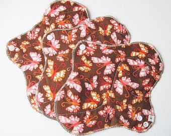 Set of 3 Mama Cloth Pad - Brown with Orange & Pink Butterflies HEAVY Cloth Mama Pad Postpartum . 10 inch FREE SHIPPING
