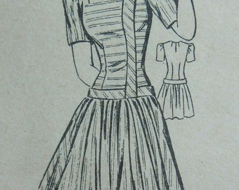 1940s Dress w/ Dropped Waistline Square Neckline Mail Order Pattern The News 3134 Vintage 40s sewing pattern Size 16 B 34