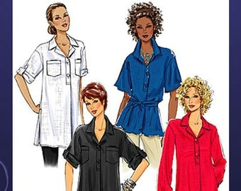 Misses' Tunic Top or Belted Blouse Butterick 5218 Sewing Pattern Plus Size 16-24 Bust 36-46 UNCUT
