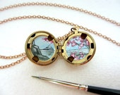 Cherry Blossoms Locket, Tiny Oil Enamel Original Sakura Painting, Hand-Painted Jewelry