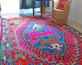 RESERVED.....6 x 10 Vintage Moroccan Azilal rug - Boucherouite rug - Bohemian - Geometric animal figures - magenta pink, blue, red, green