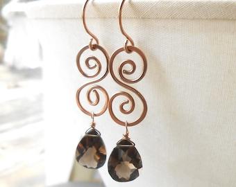 Rose Gold Dangle Earrings, Smokey Quartz Rose Gold Filled Spiral Earrings