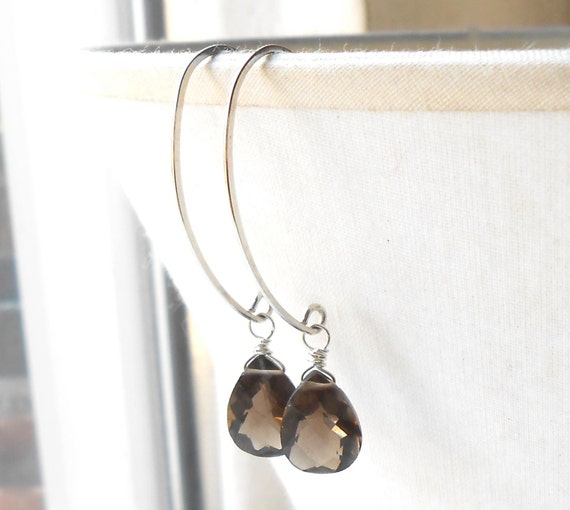 Smokey Quartz Sterling Silver Drop Earrings