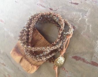 Crocheted Beaded Wrap Bracelet - Beaded Turkish Crochet 4 Times Wrap Bracelet