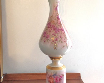 Porcelain Lamp Brass Flowers Signed Table Lamp Vintage table Lamp