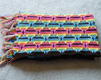 Crochet Afghan Throw Size Diamond Patterned Multi-Colored Fringed