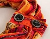 Neck Warmer Cowl - Infinity Scarf - Loop Scarf - Soft - vibrant red yellow orange black