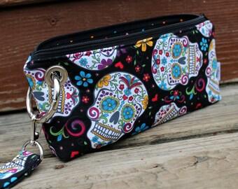 Zipper Pouch Clutch Wallet - Long Wallet - Cell Phone - Errand Runner - Evening Bag - Fabric Wallet - Wristlet - Sugar Skulls - Dead - Black