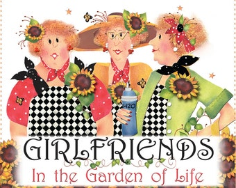 "AP6.4 - Girlfriends in the Garden - 6"" Fabric Art Panel"