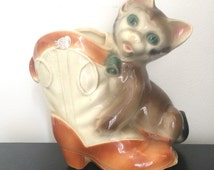 Vintage Royal Copley Kitten and Boot Ceramic Planter 50s or 60s Puss in Boots