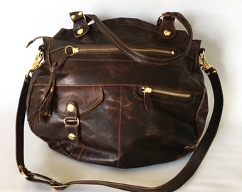 Large Okinawa leather bag in oiled brown