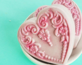 Lavender Soap Sale - Lavender Heart Soap - Lavender Lush Scent - Goat's Milk Soap - Shabby Chic Heart Soap - Victorian Soap - Lace Soap