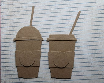 "2 Coffee to go cup mug, covers, straws larger Bare chipboard die cuts 2 1/8"" wide x 3 inches tall"