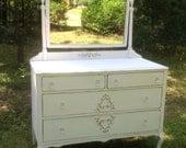 Shabby Chic Mirror Dresser Painted Cottage White