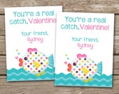 PRINTABLE - Kids Valentine Day Cards - Fish Valentine - Youre A Real Catch - 3.5 x 4.5 - Personalized