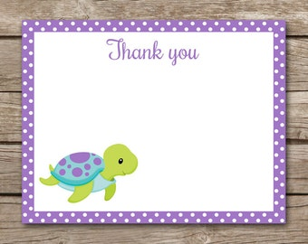 Sea Turtle Thank You Cards - Note Cards - Notecards - Girl - Boy -Under The Sea - Ocean - Beach - Tropical - INSTANT DOWNLOAD