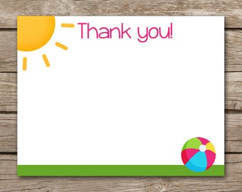 Pool Party Thank You Cards - Swim Party - Beach Party - Beach Ball - Sun - Girl - INSTANT DOWNLOAD