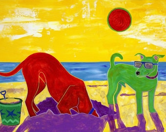 "Beach Art Print - Colorful Dog Art LARGE Matted 16"" X 20"" Print by Angela Bond"