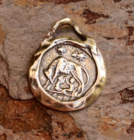 Romulus and Remus Sterling Silver Reproduction Coin Pendant