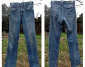 Vintage 70's Sears Roebucks High Waist Straight Leg Denim Jeans 29 Waist