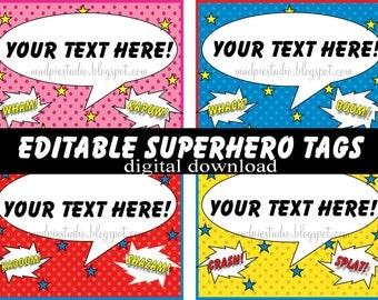 Editable Superhero Hero Tags - Instant Digital Download