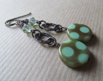Green Polka Dot Czech Glass Beaded Niobium Earrings