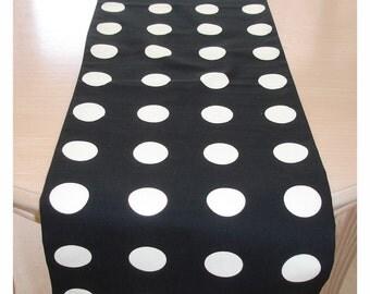 "Table Runner 6ft Jet Black And White Spots 72"" Polka Dot Spot Spotty Dotty Polkadot 180cm Cotton Coffee Piano Topper Overlay Monochrome"