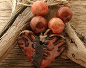 CORAL HEART - Handmade Ceramic Pendant with 4 Coordinating Beads