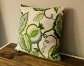Throw Pillow - Green - Blue - Floral - Home Decor - Decoration