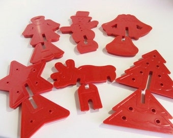 6 Plastic 3D Stand Up Christmas Cookie Cutters - New LOWER Price