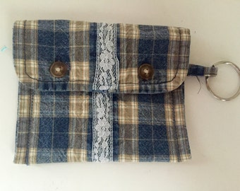 Coin Pouch Keychain Recycled Denim OOAK