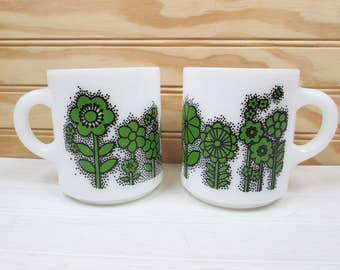 Vintage Coffee Mug Set White Milk Glass Green Flower Power Floral Stackable Lot Retro