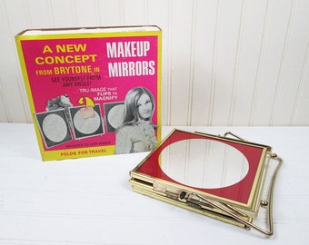 Vintage Brytone Vanity Makeup Mirror Magnifying 3 Panel Travel Retro In Box 1970s