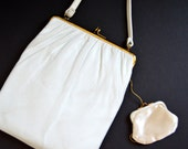 INGBER 1950's White Purse with Satin Coin Purse -Vintage Leather Handbag Purse Handbag Bridal Clutch Grace Purse Gold Metal Clasp Classic