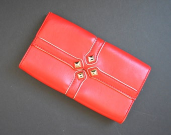 Gianni Bini Red Clutch -Leather Purse Red Handbag Evening Flap Clutch Gold Metal Accents Clasp Classic Pyramid Rivet Studs