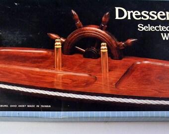 Vintage Nevco Hardwood Dresser Valet Nautical Look Walnut Finish