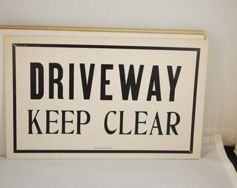 Vintage Letterpress Sign Cardstock Letterpress Sign Driveway Keep Clear