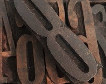 Antique Letterpress Large Blocks for Calendar Printing  Early 1900s Letterpress for Calendars  Number 8